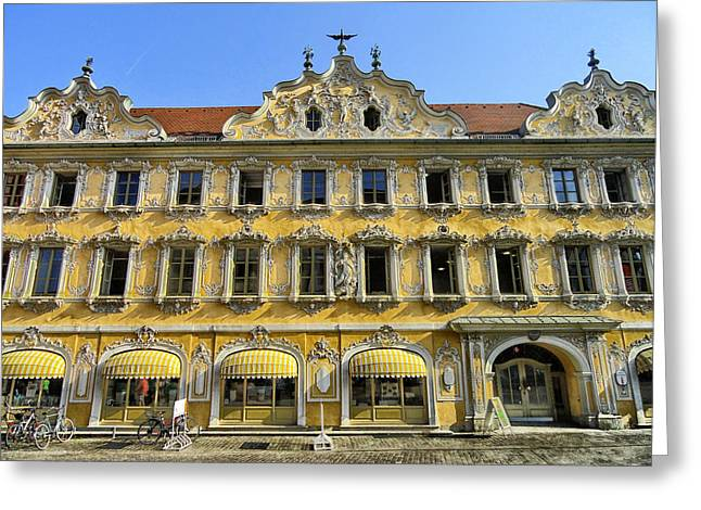 Summer Awnings Greeting Cards - Shops of Wurzburg Greeting Card by Mountain Dreams