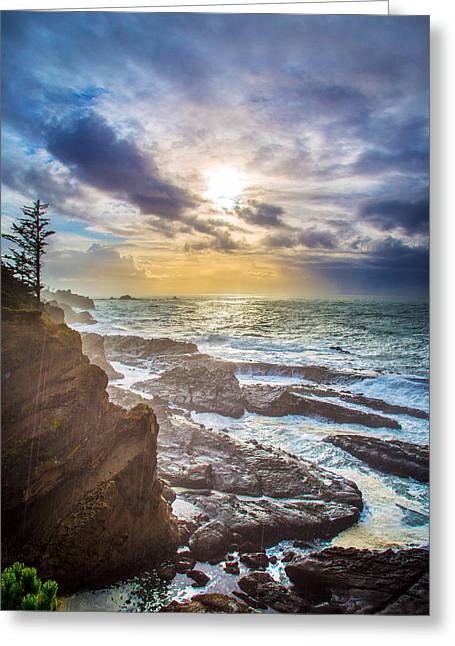 Sunset Bay State Park Greeting Cards - Shore Acres Storm Greeting Card by Robert Bynum