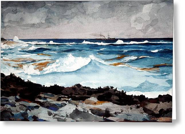Ocean Landscape Drawings Greeting Cards - Shore and Surf  Greeting Card by Winslow Homer