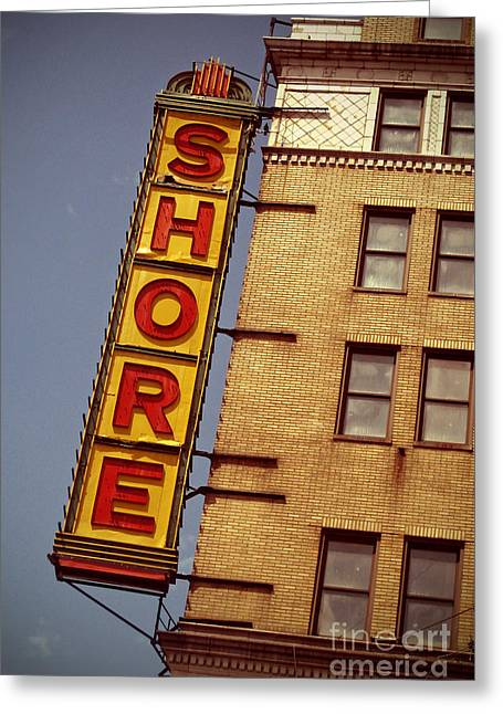 Amusements Digital Art Greeting Cards - Shore Building Sign - Coney Island Greeting Card by Jim Zahniser