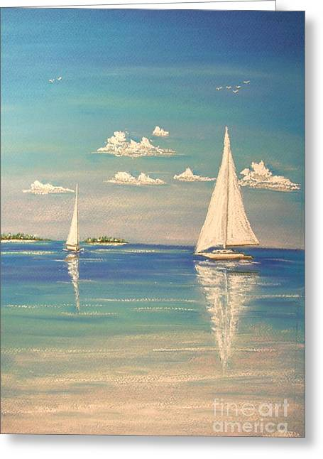 Blue Sailboat Pastels Greeting Cards - The Cays Greeting Card by The Beach  Dreamer