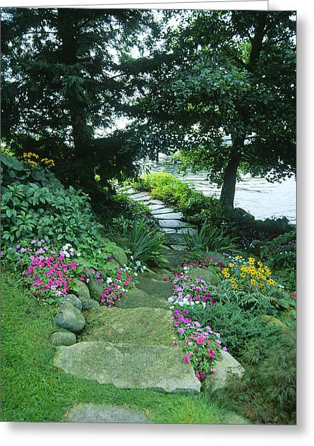 Wisconsin Greeting Cards - Shore Path - Lake Geneva Wisconsin Greeting Card by Bruce Thompson