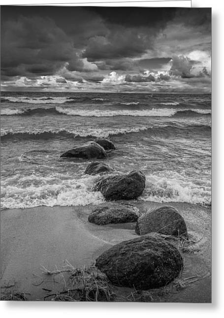 Sturgeon Greeting Cards - Shore Rocks and Waves at Wilderness Park Greeting Card by Randall Nyhof