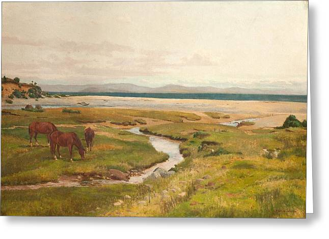 Beach Landscape Greeting Cards - Shore Scene With Horses Greeting Card by George Frederick Waldo Johnson