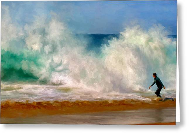 California Big Wave Surf Greeting Cards - Shorebreak at the Wedge Greeting Card by Michael Pickett
