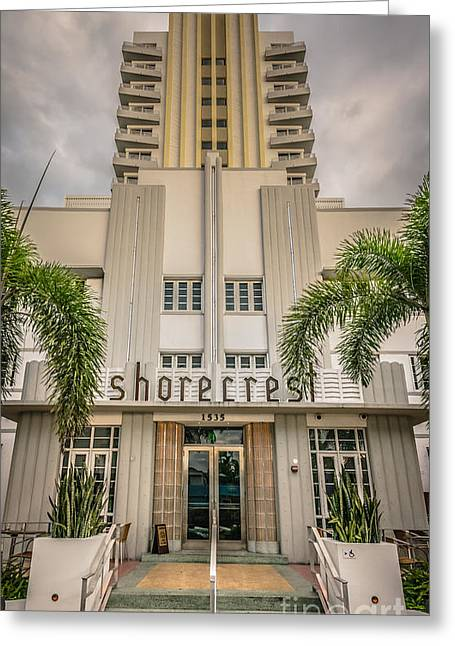 1920s Portraits Greeting Cards - Shorecrest Hotel on South Beach Miami - HDR Style Greeting Card by Ian Monk
