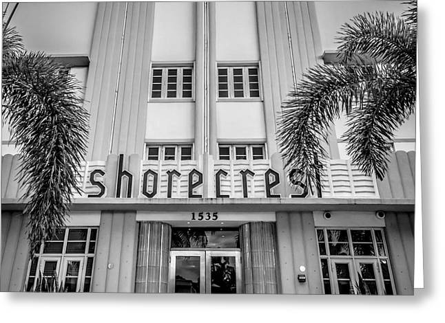1930s Greeting Cards - Shorecrest Hotel on South Beach Miami  - Square Crop - Black and White Greeting Card by Ian Monk