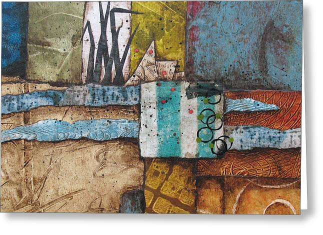 Acrylic Mixed Media Abstract Collage Greeting Cards - Shoreline II Greeting Card by Laura  Lein-Svencner