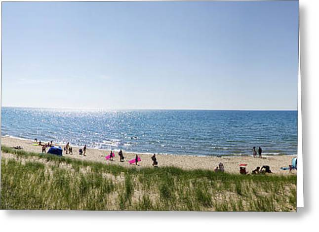 Playing Cards Greeting Cards - Shoreline Lake Michigan Panorama Greeting Card by Thomas Woolworth