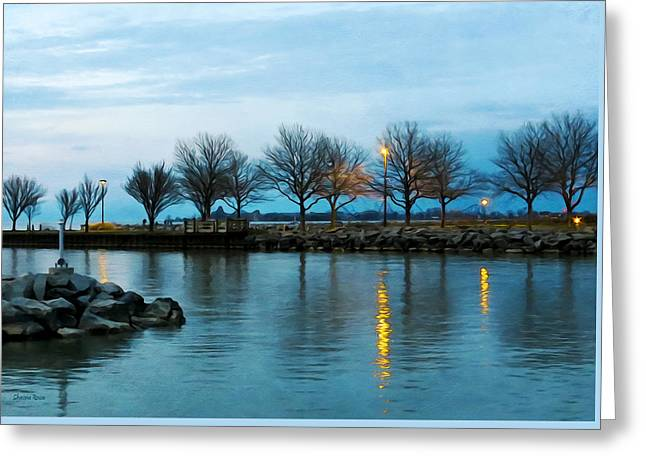 Dusk By The Lake Greeting Cards - Shoreline Park - Twilight Reflections Greeting Card by Shawna  Rowe