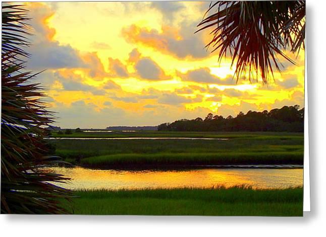 Cedar Key Greeting Cards - Shoreline Sunset 3 Greeting Card by Sheri McLeroy