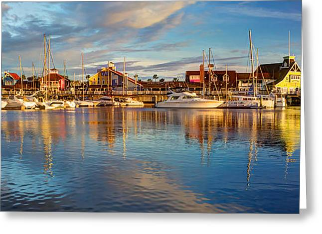 Boat Cruise Greeting Cards - Shoreline Village Pano Greeting Card by Heidi Smith