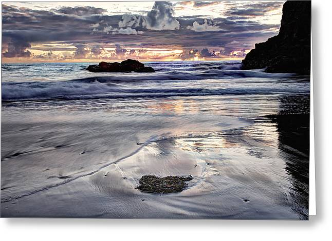 Clouds Glass Art Greeting Cards - Short Beach Sunset Greeting Card by Jim Young