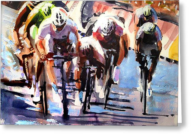 Bicycling Greeting Cards - Short Sharp Sprint Greeting Card by Shirley  Peters