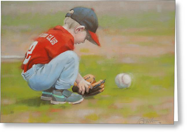 Baseball Glove Paintings Greeting Cards - Short Shortstop Greeting Card by Todd Baxter