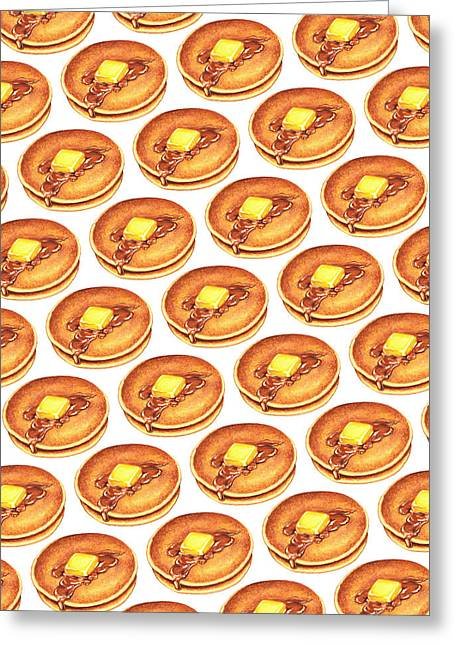 Syrups Greeting Cards - Short Stack Pattern Greeting Card by Kelly Gilleran