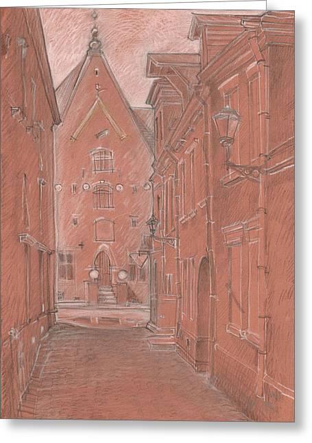 Tallinn Greeting Cards - Short Street Greeting Card by Serge Yudin