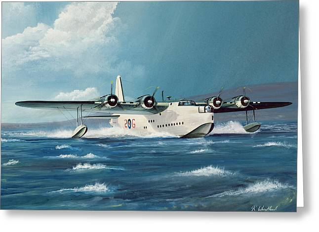 Landing Paintings Greeting Cards - Short Sunderland Greeting Card by Richard Wheatland