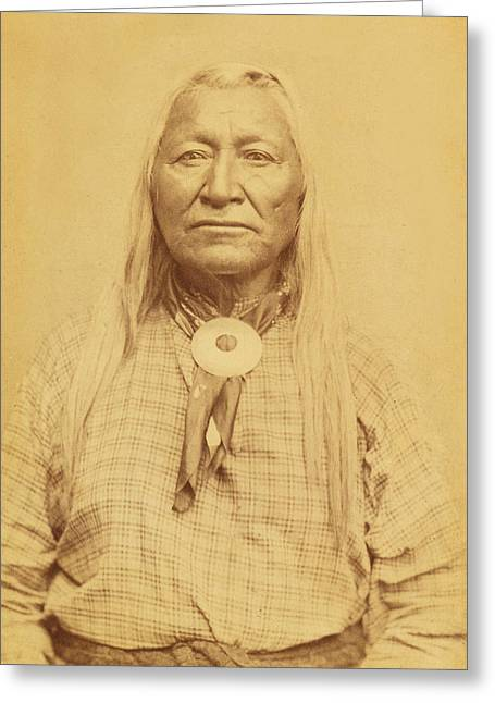 Recently Sold -  - Tears Greeting Cards - Shoshone Chief Washakie Greeting Card by Paul Ashby Antique Image