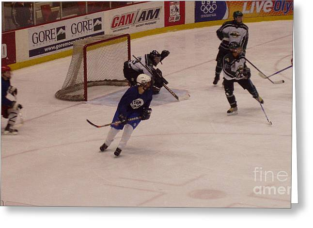 Hockey Equipment Greeting Cards - Shot from the Point Greeting Card by John Telfer