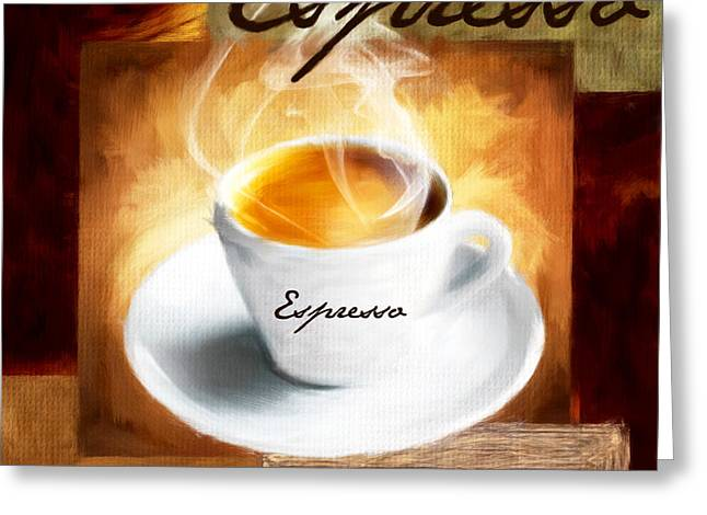Caffe Latte Greeting Cards - Shot Of Warmth Greeting Card by Lourry Legarde