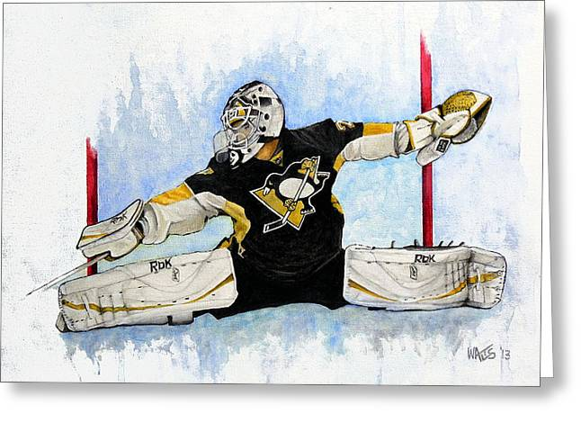 Hockey Paintings Greeting Cards - Shot ...Save Greeting Card by William Walts