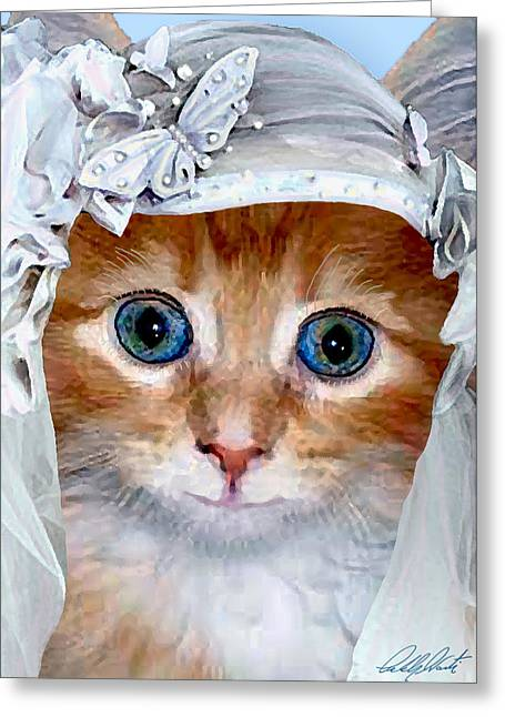 Kitten Prints Greeting Cards - Shotgun Bride  Cats In Hats Greeting Card by Michele  Avanti