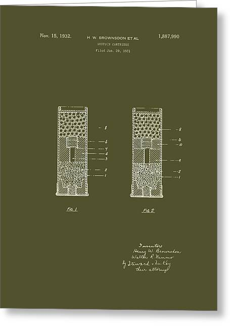 Conferring Greeting Cards - Shotgun Cartridge Patent Greeting Card by Mountain Dreams