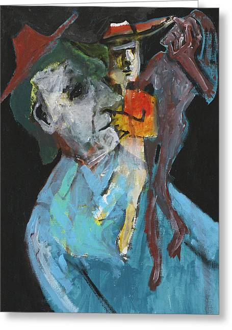 Expressionist Greeting Cards - Shoulder Puppets Greeting Card by Anon Artist