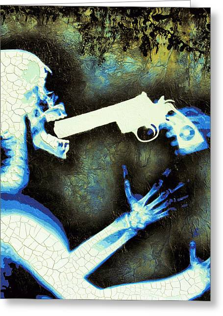 Stencil Spray Greeting Cards - Shouldve Ordered The Steak Greeting Card by Bobby Zeik