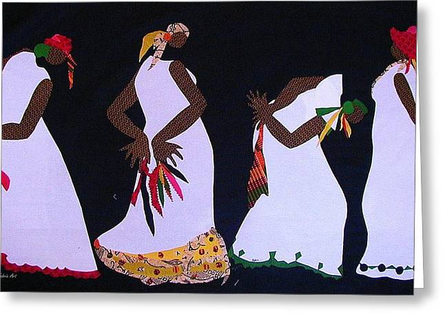 White Dress Tapestries - Textiles Greeting Cards - Shout Dance Greeting Card by Ruth Yvonne Ash