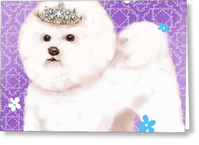 Dog Portrait Mixed Media Greeting Cards - Show Dog Bichon Frise Greeting Card by Shari Warren