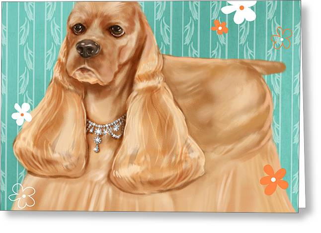 Dog Portrait Mixed Media Greeting Cards - Show Dog Cocker Spaniel Greeting Card by Shari Warren