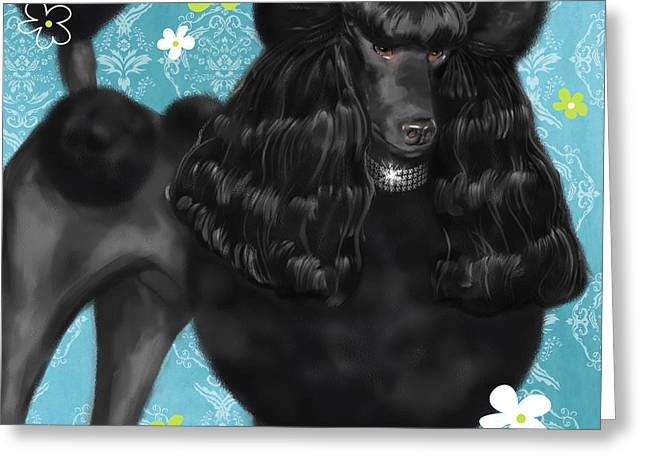 Dog Portrait Mixed Media Greeting Cards - Show Dog Poodle Greeting Card by Shari Warren