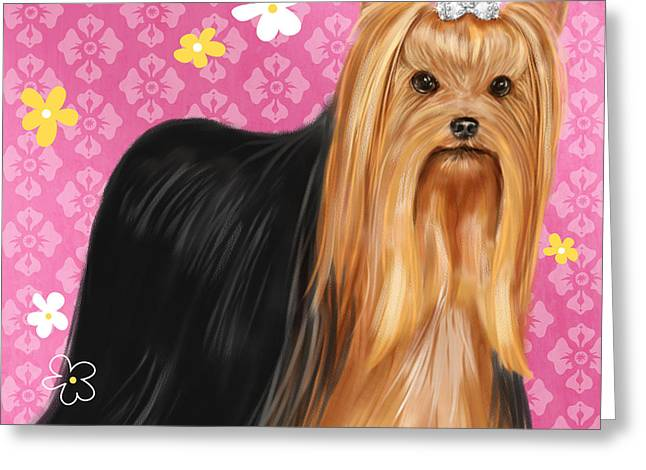 Dog Prints Mixed Media Greeting Cards - Show Dog Yorkshire Terrier Greeting Card by Shari Warren