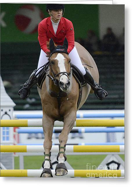 Horse Show Jumping 3 Greeting Card by Bob Christopher