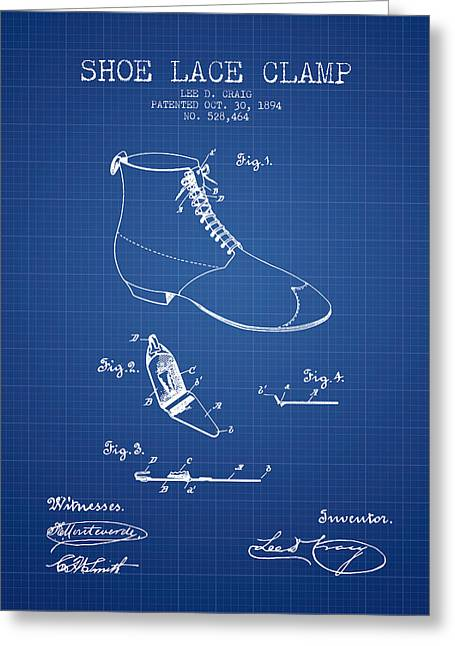 Lace Shoes Greeting Cards - Show Lace Clamp Patent from 1894 - Blueprint Greeting Card by Aged Pixel