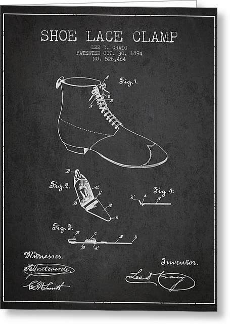 Lace Shoes Greeting Cards - Show Lace Clamp Patent from 1894 - Dark Greeting Card by Aged Pixel