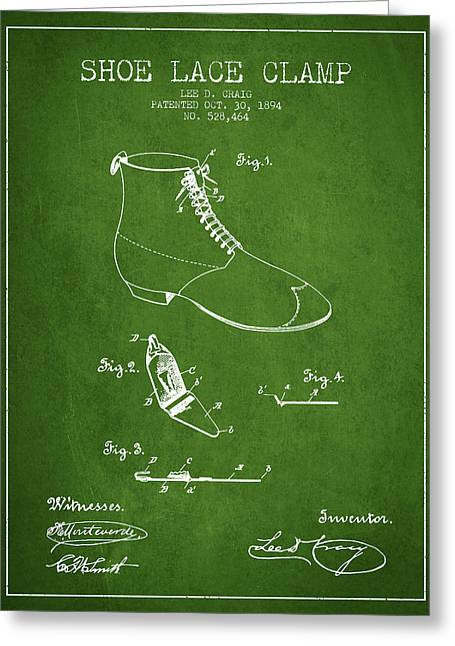 Lace Shoes Greeting Cards - Show Lace Clamp Patent from 1894 - Green Greeting Card by Aged Pixel
