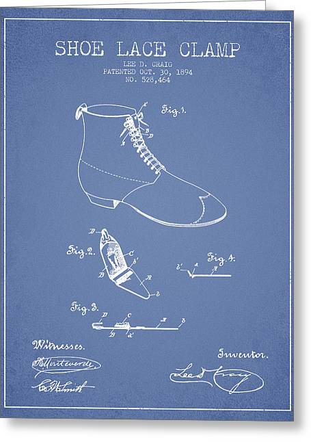 Lace Shoes Greeting Cards - Show Lace Clamp Patent from 1894 - Light Blue Greeting Card by Aged Pixel