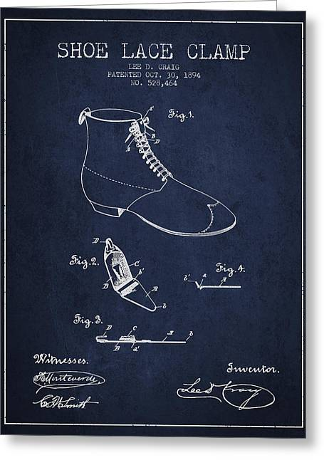 Lace Shoes Greeting Cards - Show Lace Clamp Patent from 1894 - Navy Blue Greeting Card by Aged Pixel