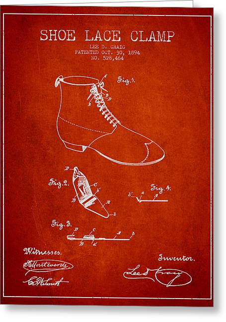 Lace Shoes Greeting Cards - Show Lace Clamp Patent from 1894 - Red Greeting Card by Aged Pixel