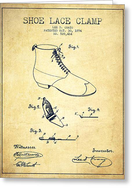 Lace Shoes Greeting Cards - Show Lace Clamp Patent from 1894 - Vintage Greeting Card by Aged Pixel