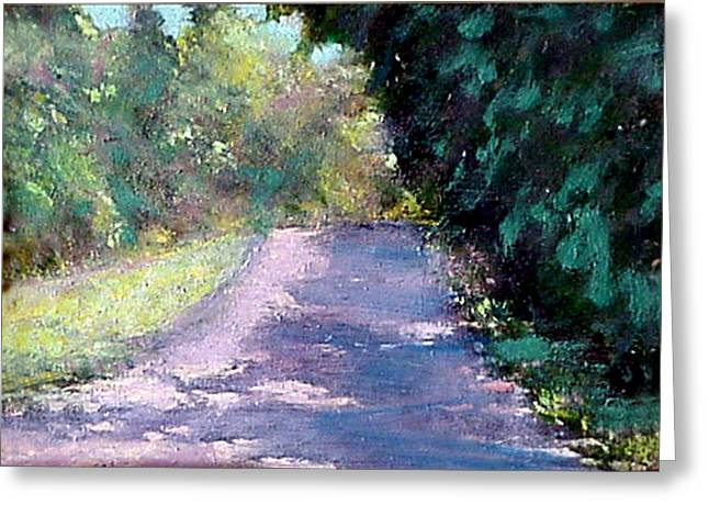 Roadway Paintings Greeting Cards - Show Me the Way to Go Home Greeting Card by David Zimmerman
