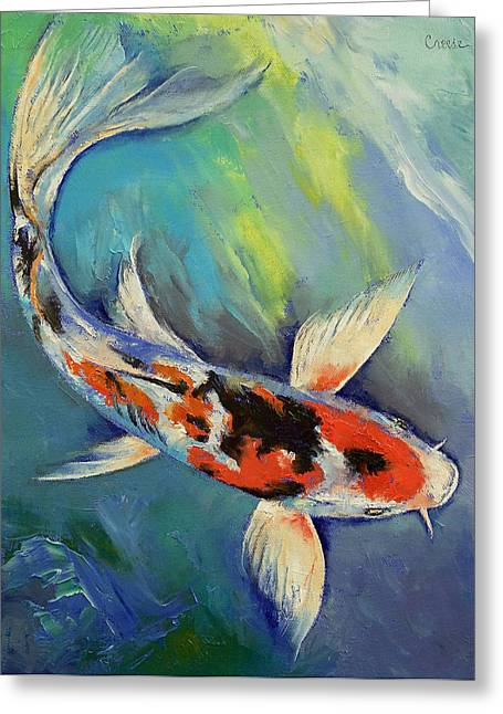 Japanese Koi Greeting Cards - Showa Butterfly Koi Greeting Card by Michael Creese