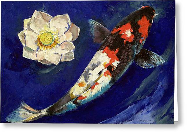 Water Lilly Greeting Cards - Showa Koi and Lotus Flower Greeting Card by Michael Creese
