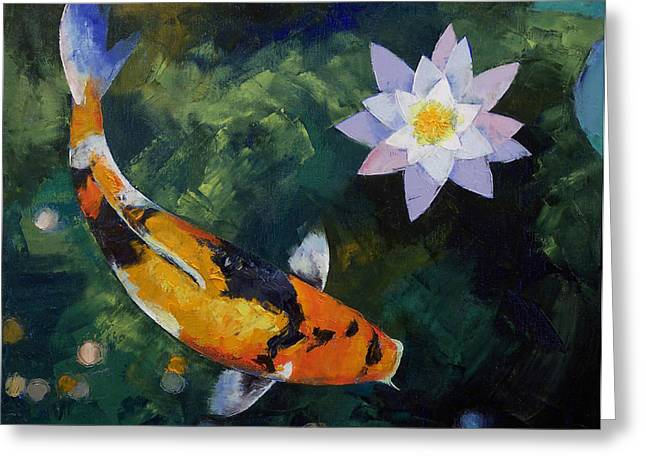 Japanese Koi Greeting Cards - Showa Koi and Water Lily Greeting Card by Michael Creese