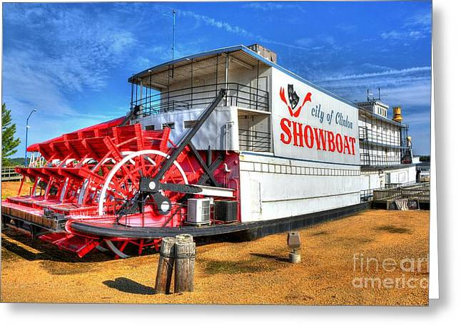 Steamboat Greeting Cards - Showboat Big Wheel Greeting Card by Mel Steinhauer