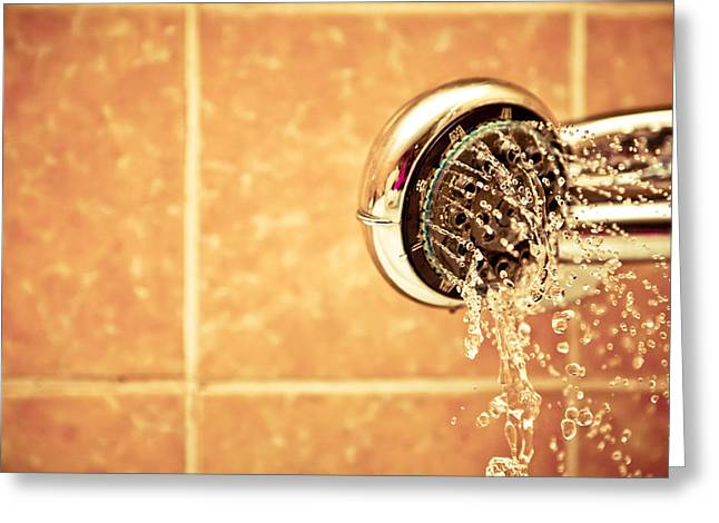 Shower Head Greeting Cards - Shower head bathroom Greeting Card by Anon Artist