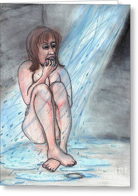 Therapy Pastels Greeting Cards - Shower Therapy Greeting Card by Leandria Goodman